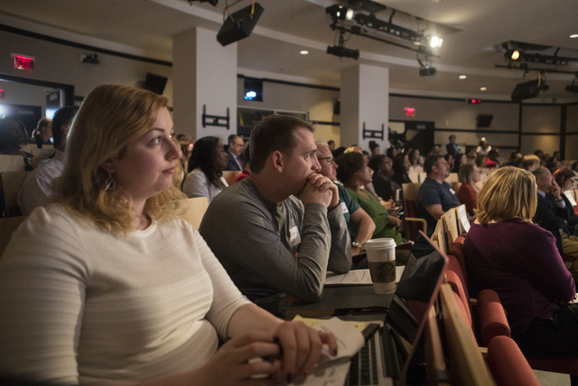 Charlotte Buys, left, and James Lovett listen to a speaker at the Mental and Behavioral Health Coalition forum at UNLV Oct. 7, 2016, in Las Vegas. Loren Townsley/View Follow @lorentownsley