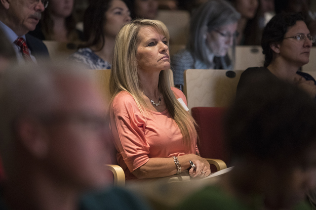 Lynn Culberg listens to the speaker at the Mental and Behavioral Health Coalition forum at UNLV Oct. 7, 2016, in Las Vegas. Loren Townsley/View Follow @lorentownsley