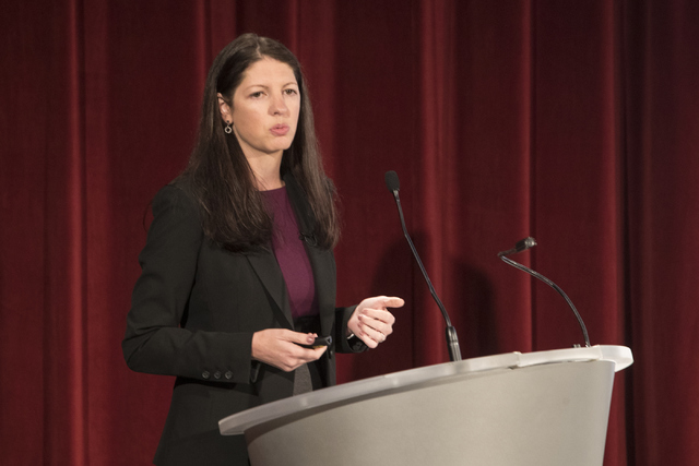 Angela Beck, the director of the Behavioral Health Research Center at the University of Michigan, speaks during the Mental and Behavioral Health Coalition forum at UNLV Oct. 7, 2016, in Las Vegas. ...