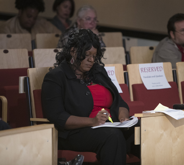 Ramona Denby-Brinson takes notes at the Mental and Behavioral Health Coalition forum at UNLV Oct. 7, 2016, in Las Vegas. Loren Townsley/View Follow @lorentownsley