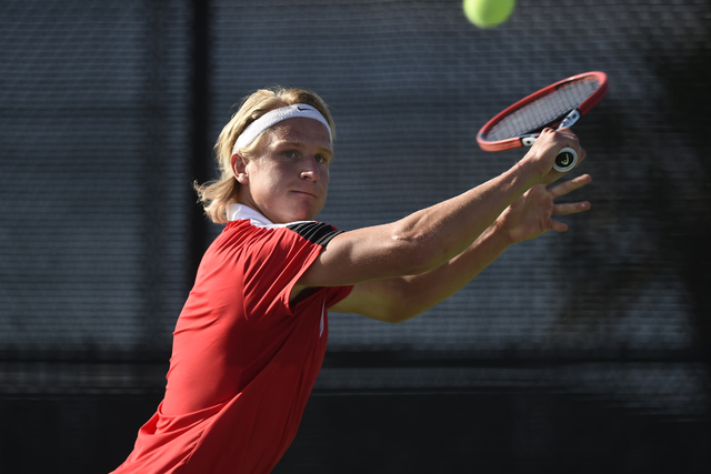 Jakob Amilon. 01 MAY 2016: The 2016 Mountain West Men's Tennis Championship takes place at the Fertitta Tennis Complex on the campus of UNLV in Las Vegas, NV. Justin Tafoya/NCAA Photos
