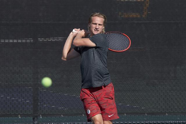 Jakob Amilon. UNLV men's tennis player action on January 18, 2016. (R. Marsh Starks / UNLV Photo Services)
