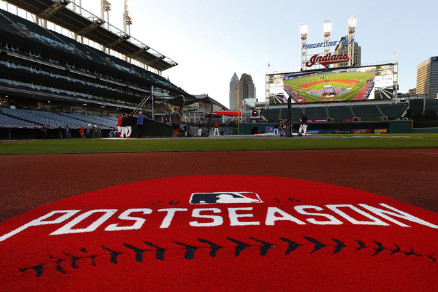 The Cleveland Indians practice in Cleveland, Wednesday, Oct. 5, 2016. Cleveland meets the Boston Red Sox in Game 1 of the American League Division Series baseball game Thursday. (David Dermer/AP)