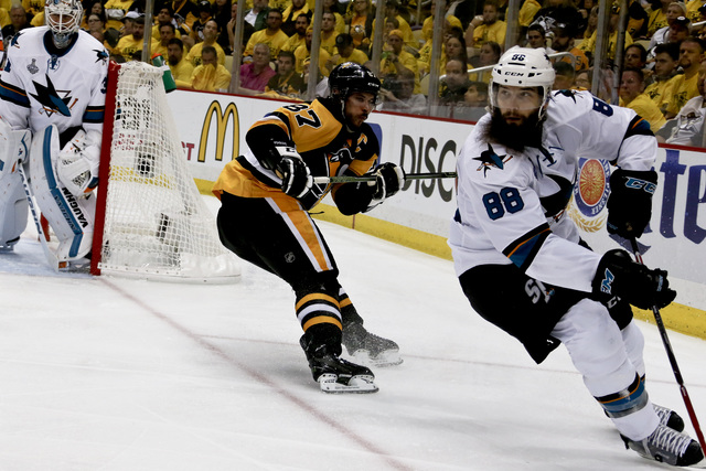 In this May 30, 2016, file photo, San Jose Sharks' Brent Burns (88) plays against the Pittsburgh Penguins in Game 1 of the Stanley Cup final series in Pittsburgh. Burns is one of the top players t ...