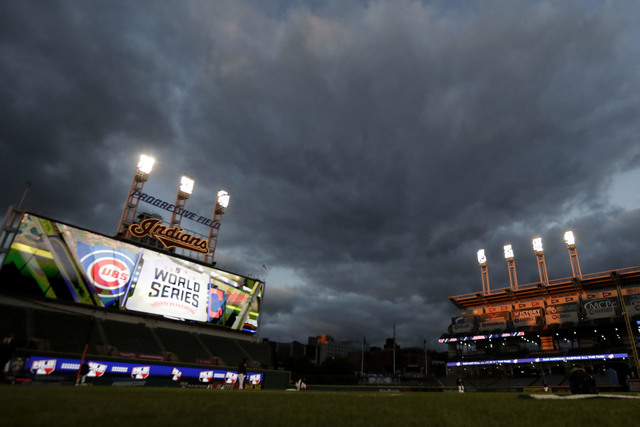 Cleveland Indians warm up during a team practice for baseball's upcoming World Series against the Chicago Cubs on Monday, Oct. 24, 2016 in Cleveland. (AP Photo/Charlie Riedel)