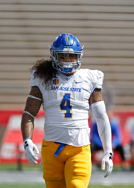 San Jose State linebacker Christian Tago warms-up before an NCAA college football game against New Mexico in Albuquerque, N.M., Saturday, Oct. 1, 2016. (Andres Leighton/AP)