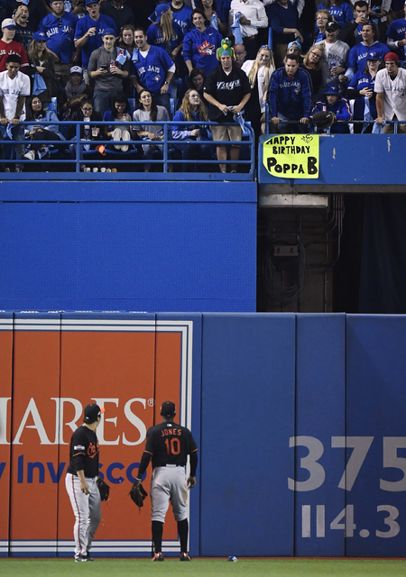 Baltimore Orioles outfielders Hyun Soo Kim, left, and Adam Jones look towards the seats after a can was thrown at Kim during the seventh inning of an American League wild-card baseball game agains ...