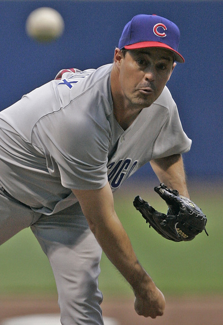 Chicago Cubs starter Greg Maddux throws against the Milwaukee Brewers during the third inning Monday, June 20, 2005, in Milwaukee. (Morry Gash/AP)