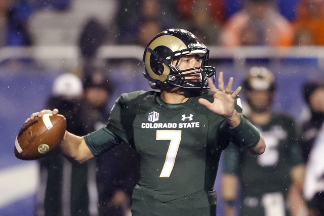Colorado State quarterback Nick Stevens looks to throw during the first half of the team's NCAA college football game against Boise State in Boise, Idaho, Saturday, Oct. 15, 2016. (Otto Kitsinger/AP)