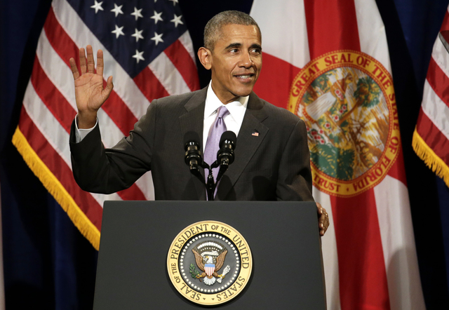 President Barack Obama speaks about the Affordable Care Act, Thursday, Oct. 20, 2016, at Miami Dade College in Miami. (Lynne Sladky/The Associated Press)