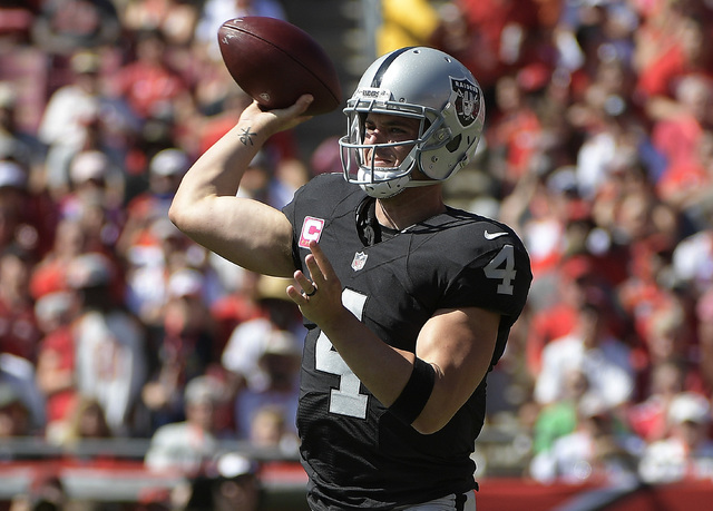Oakland Raiders quarterback Derek Carr (4) throws a pass against the Tampa Bay Buccaneers during the first quarter Sunday, Oct. 30, 2016, in Tampa, Fla. (Phelan Ebenhack/The Associated Press)