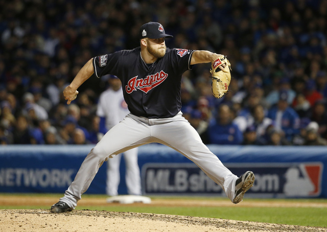 Cleveland Indians relief pitcher Cody Allen throws during the seventh inning of Game 5 of the World Series against the Chicago Cubs, Sunday, Oct. 30, 2016, in Chicago. (Nam Y. Huh/The Associated P ...