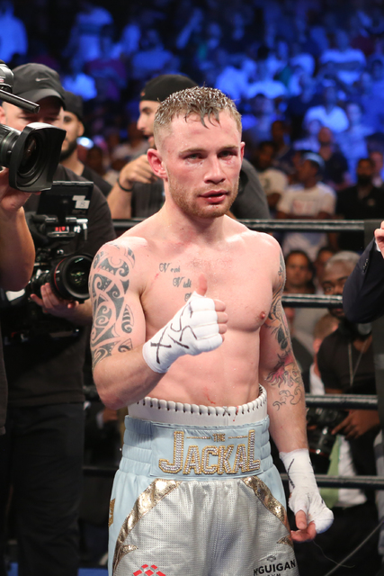 Carl Frampton poses after his WBA Super World Featherweight Championship fight against Leo Santa Cruz at the Barclays Center in the Brooklyn borough of New York on Saturday, July 30, 2016. Carl Fr ...
