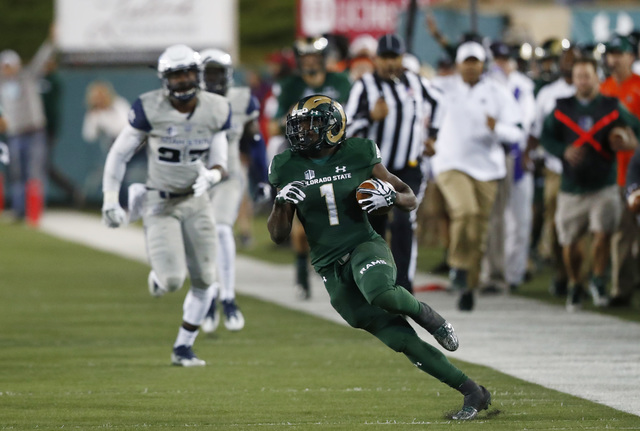 Colorado State Rams running back Dalyn Dawkins (1) in the second half of an NCAA college football game late Saturday, Oct. 8, 2016, in Fort Collins, Colo. Colorado State won 31-24. (David Zalubows ...