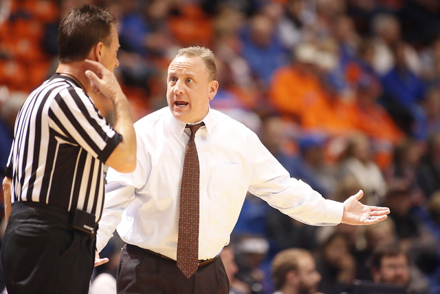 San Jose State head coach Dave Wojcik argues a call during the first half of an NCAA college basketball game against Boise State in Boise, Idaho, Wednesday, Jan. 20, 2016. Boise State won 94-69. ( ...