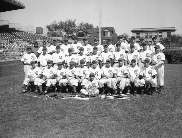 Members of the Chicago Cubs pose for the 1945 team picture in Wrigley Field, Chicago, Aug. 27, 1945. (AP Photo)