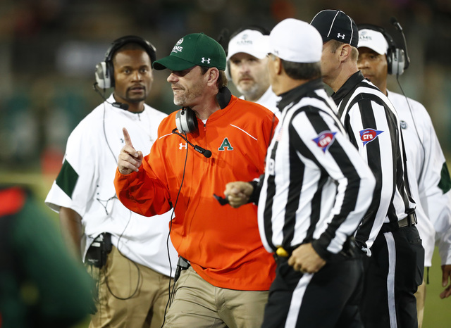 Colorado State Rams head coach Mike Bobo argues with officials in the second half of an NCAA college football game late Saturday, Oct. 8, 2016, in Fort Collins, Colo. Colorado State won 31-24. (Da ...