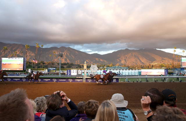 Attendees react as Bayern wins the classic at day 2 of the 2014 Breeders' Cup World Championships at Santa Anita Park on Saturday, Nov. 1, 2014, in Arcadia, Calif. The Breeders' Cup returns to the ...