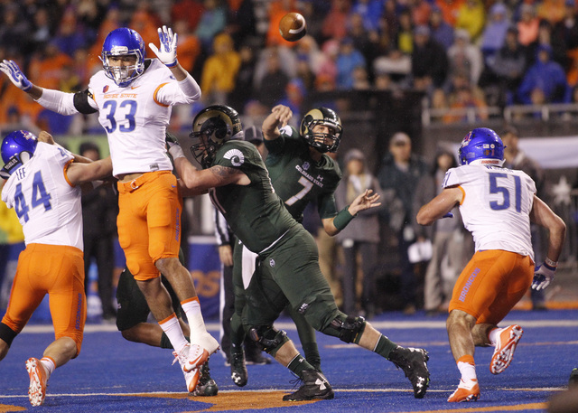 Colorado State quarterback Nick Stevens (7) passes the ball during the first half of an NCAA college football game against Boise State in Boise, Idaho, Saturday, Oct. 15, 2016. Boise State won 28- ...