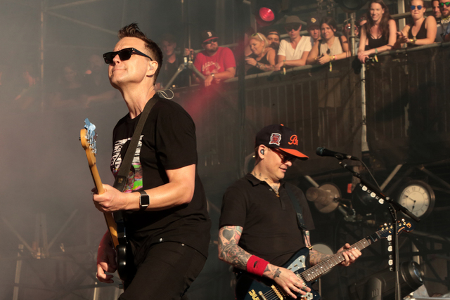 Mark Hoppus, left and Matt Skiba of the band Blink-182 perform on Day 4 of the 2016 Firefly Music Festival at The Woodlands on Sunday, June 19, 2016, in Dover, Del. (Photo by Owen Sweeney/Invision/AP)