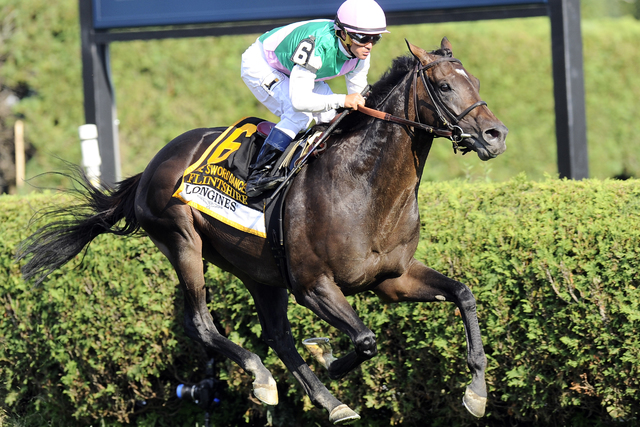 Flintshire with Javier Castellano aboard wins the Longines Sword Dancer Stakes horse race at Saratoga Race Course in Saratoga Springs, N.Y., Saturday, Aug. 27, 2016. (Hans Pennink/AP)