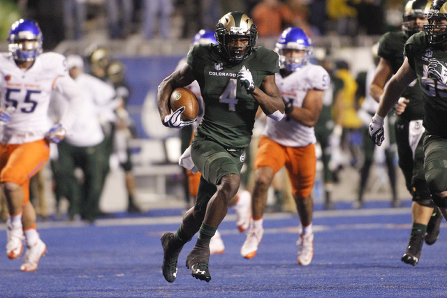 Colorado State wide receiver Michael Gallup (4) runs the ball during the second half of an NCAA college football game against Boise State in Boise, Idaho, Saturday, Oct. 15, 2016. Boise State won  ...