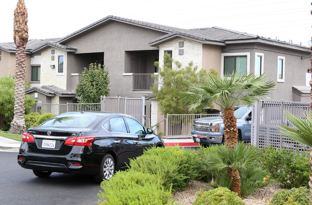 Residents enter Domain apartment complex Tuesday, Sept. 20, 2016, at 831 Coronado Center Drive in Henderson. (Bizuayehu Tesfaye/Las Vegas Review-Journal Follow @bizutesfaye)