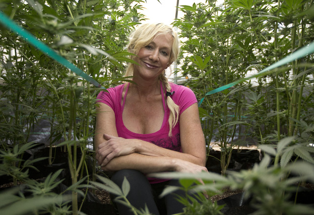Christine Miller sits among some of the 250 marijuana plants on her farm near Benbow, Calif. (Rich Pedroncelli/The Associated Press)