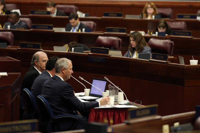 The Nevada Assembly is addressed by Steve Hill, Jeremy Aguero and Guy Hobbs during a special legislative session held to evaluate the stadium proposal in Carson City on Oct. 13, 2016. Heidi Fang/L ...