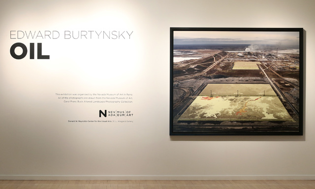 "A photograph of ""Alberta Oil Sands #6"" leads off Edward Burtynsky's exhibit ""Oil,"" now at UNLV's Marjorie Barrick Museum. The exhibition was organized by the Nevada Museum of Art in Reno ..."