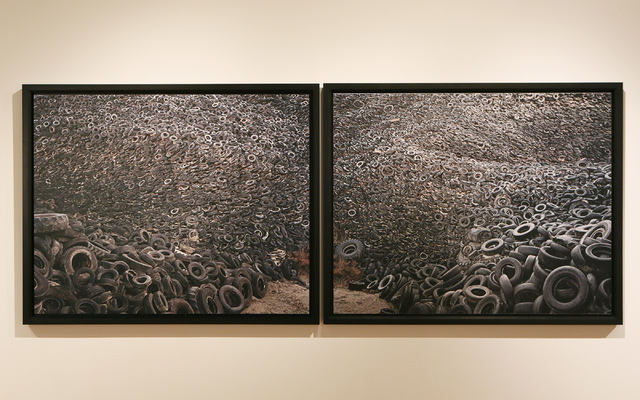 "A diptych depicting a massive tire pile in Westley, California, ""Oxford Tire Pile #9ab"" is part of ""Edward Burtynsky: Oil."" The award-winning Canadian photographer's exhibit continues through Jan. ..."