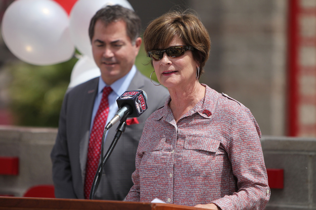 Tina Kunzer-Murphy, UNLV Director of Athletics, speaks on the Anthony and Lyndy Marnell III Baseball Clubhouse announced during an event outside of Wilson Stadium at UNLV in Las Vegas Monday, May  ...