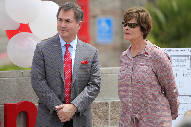UNLV President Dr. Len Jessup, left, and Tina Kunzer-Murphy, UNLV Director of Athletics, participate during an event announcing the Anthony and Lyndy Marnell III Baseball Clubhouse outside of Wils ...
