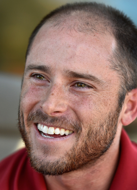 Mitch Glasser, professional baseball player and substitute teacher speaks during an interview Tuesday, Oct. 4, 2016, in Henderson. The minor league player was chosen to participate with the nation ...