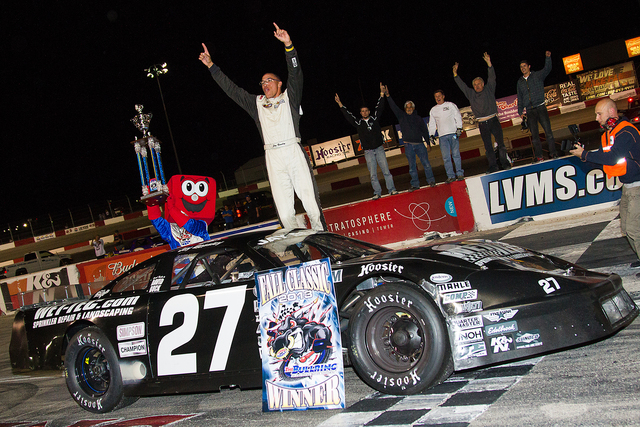 Jay Beasley, shown celebrating in victory lane after winning the Fall Classic Open Comp 150 at The Bullring at Las Vegas Motor Speedway in Las Vegas, NV, on Oct., 26, 2013, is one of 17 drivers in ...