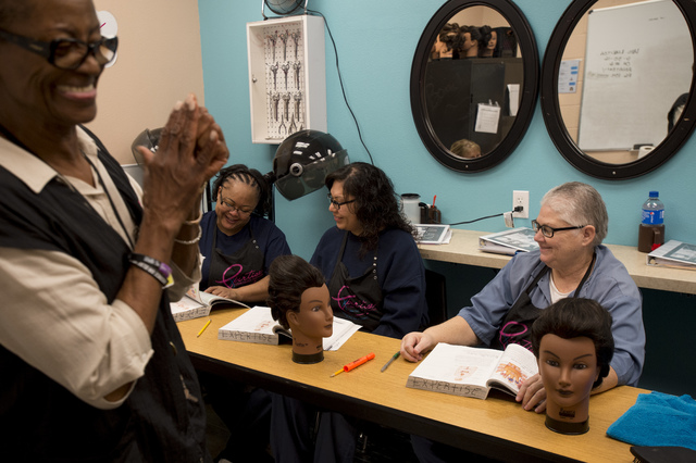 Cosmetology instructor Dorothy Muhammad leads an afternoon class on Thursday, June 30, 2016, at Florence McClure Women's Correctional Center in North Las Vegas. (Bridget Bennett/Las Vegas Review-J ...
