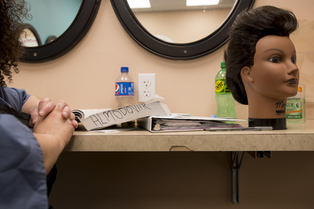 Inmate Lizcett Almodovar listens to her instructor doing a cosmetology class on Thursday, June 30, 2016, at Florence McClure Women's Correctional Center in North Las Vegas. (Bridget Bennett/Las Ve ...