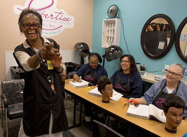 Cosmetology educator Dorothy Muhammad leads an afternoon class on Thursday, June 30, 2016, at Florence McClure Women's Correctional Center in North Las Vegas. (Bridget Bennett/Las Vegas Review-Jou ...