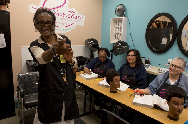 Cosmetology instructor Dorothy Muhammad leads an afternoon class onThursday, June 30, 2016, at Florence McClure Women's Correctional Center in North Las Vegas. (Bridget Bennett/Las Vegas Review-Jo ...