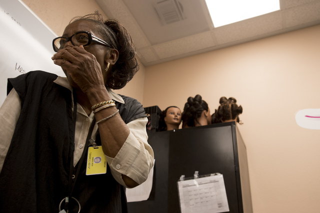 Cosmetology instructor Dorothy Muhammad laughs at a joke while she leads the class on Thursday, June 30, 2016, at Florence McClure Women's Correctional Center in North Las Vegas. (Bridget Bennett/ ...