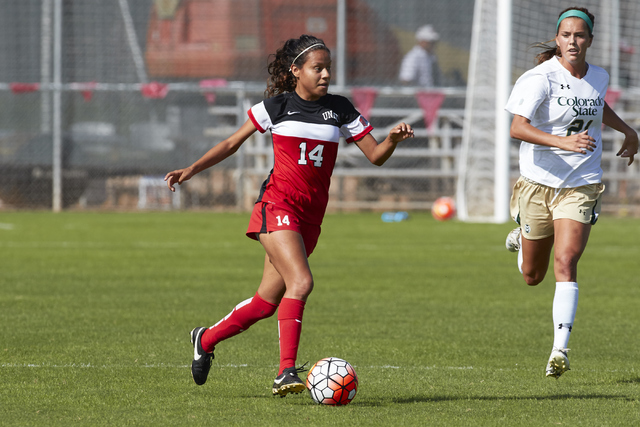UNLV senior forward Susie Bernal, left, shown last season, had two of the Rebels' six shots on goal Friday in their 1-0 road victory over Air Force. (R. Marsh Starks/UNLV Photo Services)