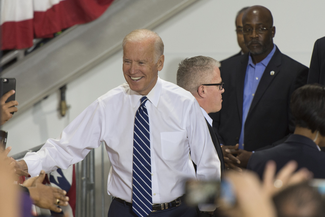 Vice President Joe Biden greets Hillary Clinton supporters prior to speaking at a campaign rally for presidential candidate Hillary Clinton at the Southwest Regional Council of Carpenters office i ...
