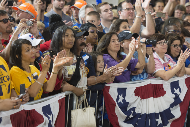 Hillary Clinton supporters listen as Vice President Joe Biden speaks during a campaign rally for presidential candidate Hillary Clinton at the Southwest Regional Council of Carpenters office in La ...