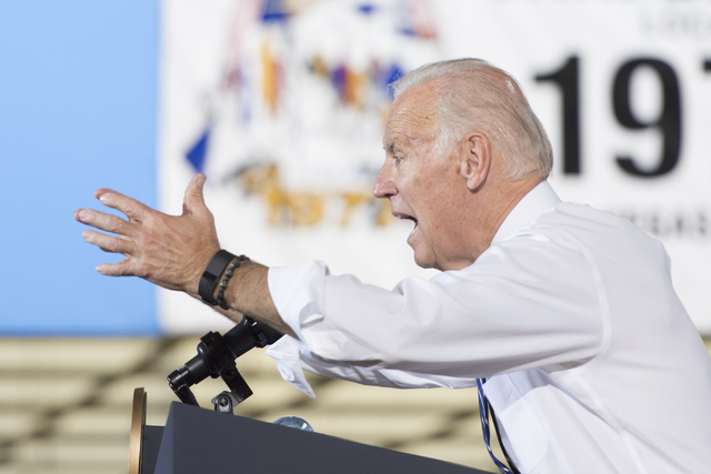 Vice President Joe Biden speaks during a campaign rally for presidential candidate Hillary Clinton at the Southwest Regional Council of Carpenters office in Las Vegas, Saturday, Oct. 29, 2016. Jas ...