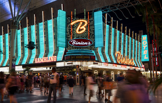 The exterior of Binion's hotel-casino is shown along the Fremont Street Experience in downtown Las Vegas on Wednesday, Aug. 10, 2016. (Chase Stevens/Las Vegas Review-Journal Follow @csstevensphoto)