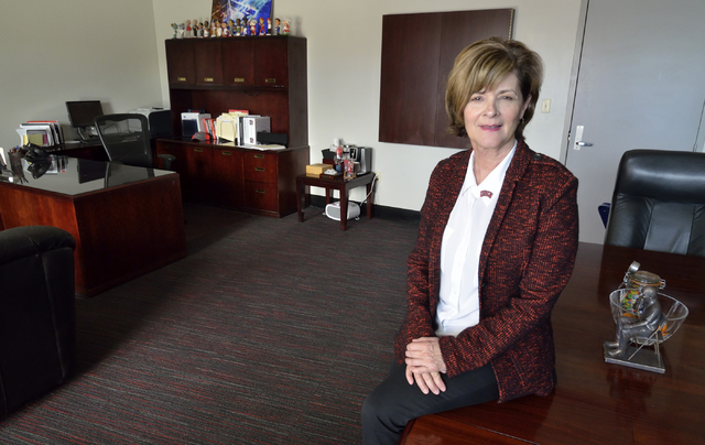 UNLV athletic director Tina Kunzer-Murphy is shown in her office at the Thomas & Mack Center on campus at 4505 S. Maryland Parkway in Las Vegas on Tuesday, March 1, 2016. (Bill Hughes/Las Vega ...