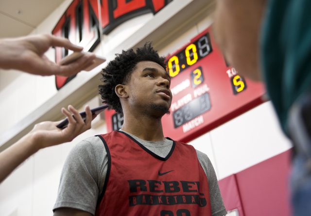 UNLV's Jovan Mooring (30) speaks with media before practice at the Mendenhall Center on the UNLV campus in Las Vegas on Tuesday, Oct. 25, 2016. (Daniel Clark/Las Vegas Review-Journal) Follow @DanJ ...