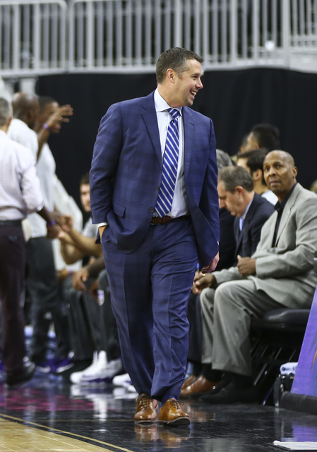 Sacramento Kings head coach David Joerger looks on before the start of a preseason basketball game at the T-Mobile Arena in Las Vegas on Thursday, Oct. 13, 2016. Chase Stevens/Las Vegas Review-Jou ...