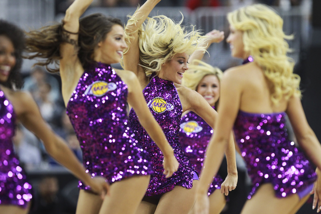 The Laker Girls perform during a preseason basketball game between the Sacramento Kings and the Los Angeles Lakers at the T-Mobile Arena in Las Vegas on Thursday, Oct. 13, 2016. Chase Stevens/Las  ...