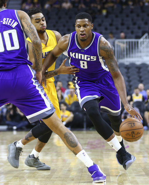 Sacramento Kings forward Rudy Gay (8) drives the ball against the Los Angeles Lakers during a preseason basketball game at the T-Mobile Arena in Las Vegas on Thursday, Oct. 13, 2016. Chase Stevens ...